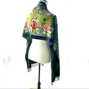 Black Sheer velvet peacock scarf